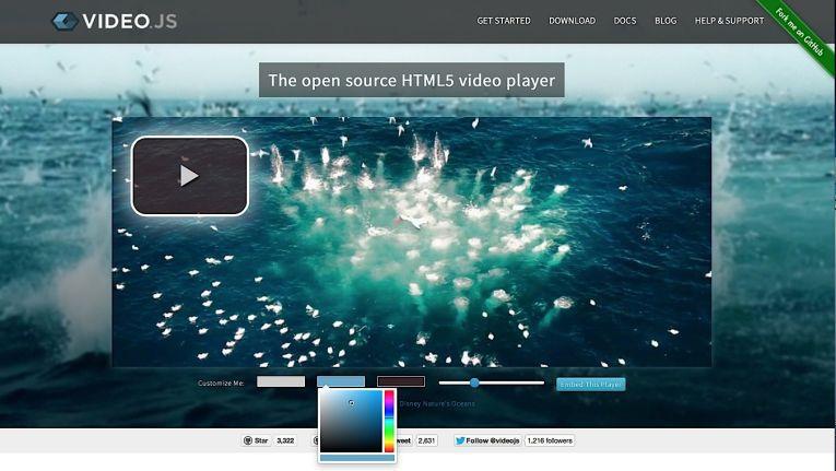 Der VideoJS-Player zeigt auf seiner Homepage, wie leicht er anzupassen und einzubetten ist.