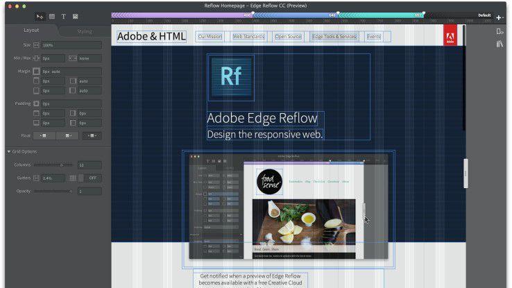 In Edge Reflow lassen sich Breakpoints für verschiedene Bildschirmgrößen definieren.