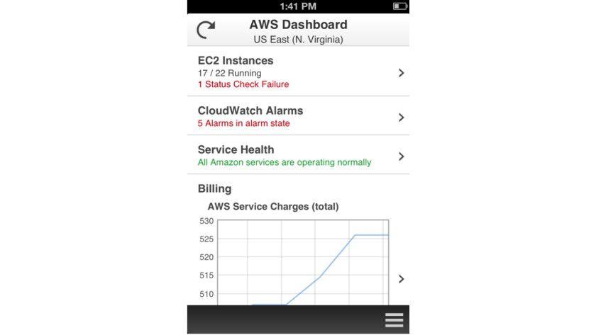 Mobile IT-Verwaltung: Mit der kostenlosen AWS Console für iOS und Android lassen sich IT-Ressourcen in der Amazon-Cloud von Mobilgeräten aus verwalten.