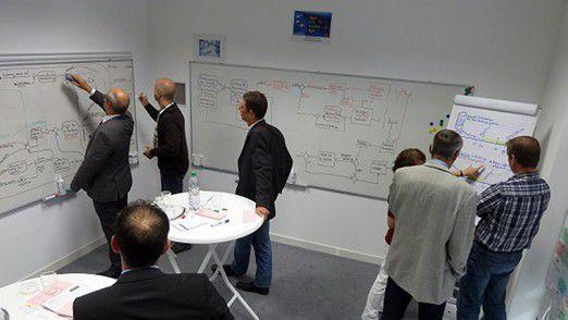Im Interaction Room ordnet das Team einzelnen Aspekten des Projekts Symbole zu.