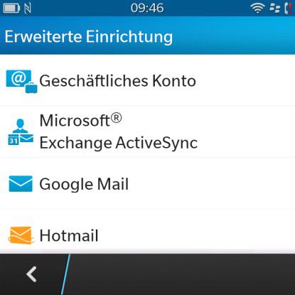 Über die erweiterte Einrichtung kann der Nutzer die Account-Details händisch eingeben.
