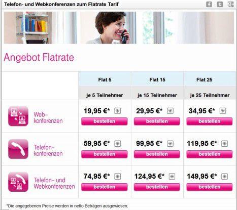 Mit Flatrates verspricht die Telekom eine bessere Kostenkontrolle für virtuelle Meetings.