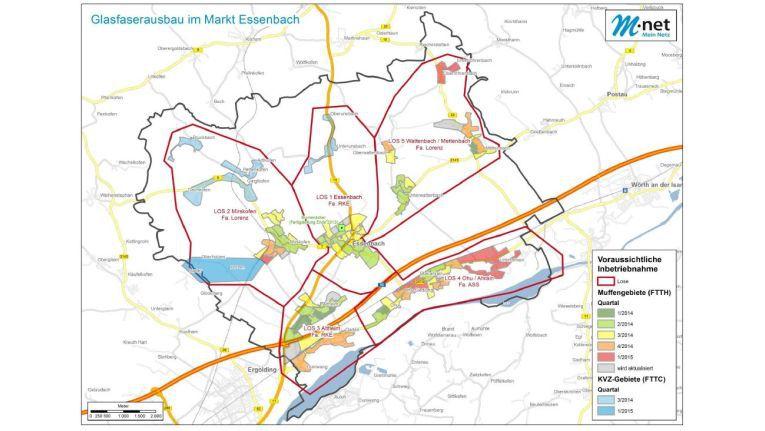 In fünf Baulose ist der eine Länge von 140 km umfassende Glasfaserausbau in Essenbach unterteilt.
