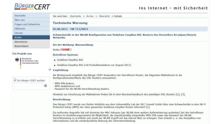 Das BSI warnt vor einigen Vodafone-Routern wegen Sicherheitsmängeln im WPS-Setup.
