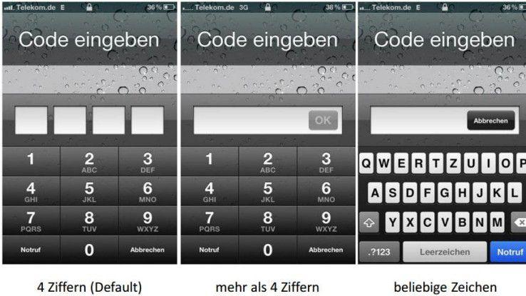 Bei einem gejailbreakten iPhone 4 mit Fehler im Boot-ROM dauert das Bruteforcing des Passcodes bei vier Ziffern nur 15 Minuten. Bei neun Ziffern sind es immerhin 2,5 Jahre und bei sechs alphanumerischen Zeichen 5,5 Jahre.