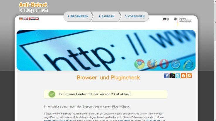 Botfrei.de bietet einen Browsercheck.