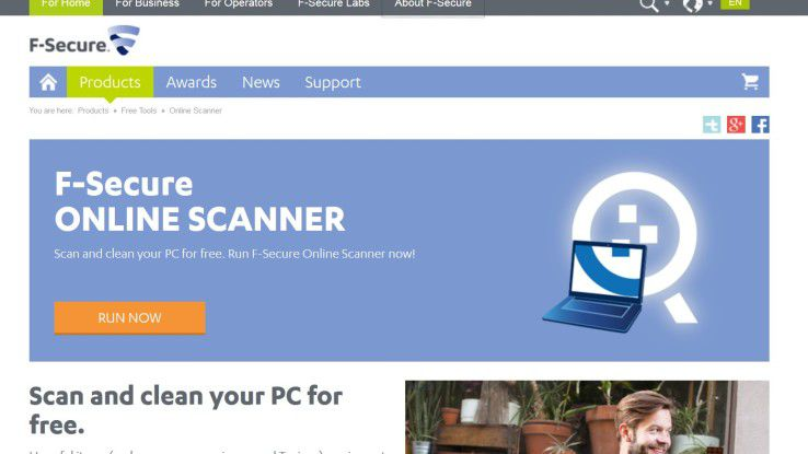 Online-Scanner wie der von F-Secure können dabei helfen, eine Bot-Infektion auf Endgeräte zu entdecken.