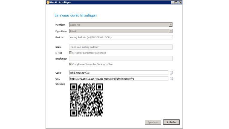 Ein neues Mobilgerät kann mit wenigen Handgriffen im baramundi-System angemeldet werden