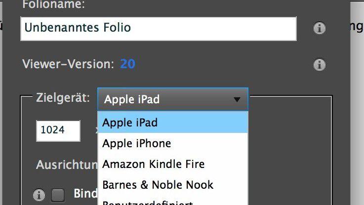 InDesign können die Foliodateien gestaltet und veröffentlicht werden.