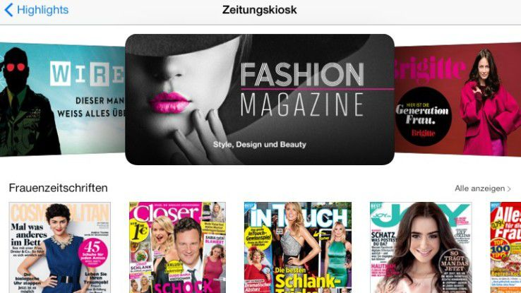 Der Zeitungskiosk auf dem iPad ist inzwischen gut gefüllt mit Zeitschriften aus allen Bereichen.