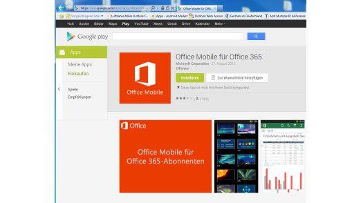 Glaubt man dem Play Store, dann läuft Office nicht auf Android-Tablets.