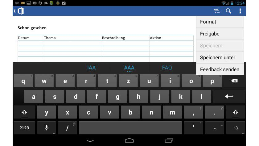 Die mobile Word-Variante auf dem Tablet.