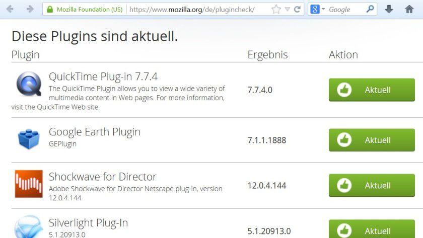 Schon ein einfacher Plugin-Check im Firefox liefert Hinweise zum Sicherheitsstatus des Browsers.