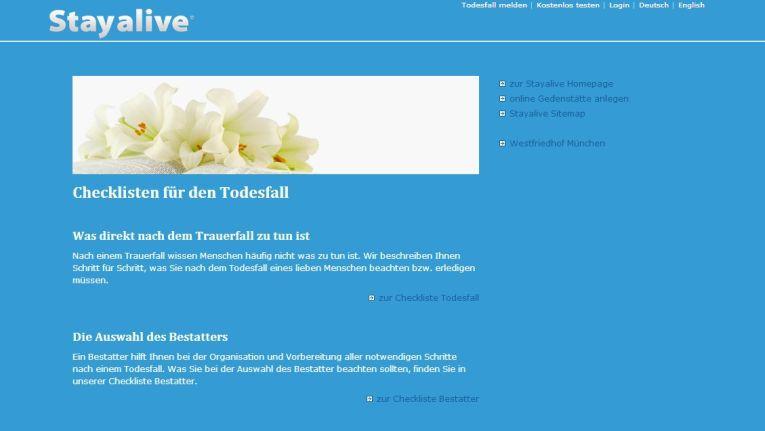 Online-Friedhöfe wie StayAlive wollen Verstorbenen auch ein digitales Andenken bewahren.