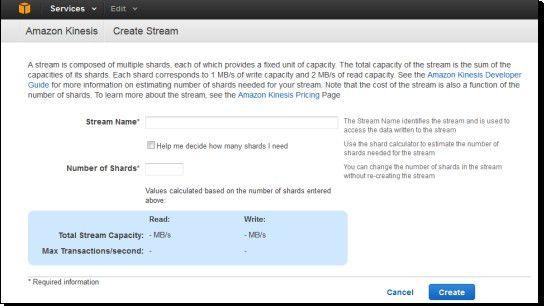 Die Konsole führt den Anwender durch den Service. Hier kann er etwa Namen des Streams und die Anzahl der Shards eingeben.