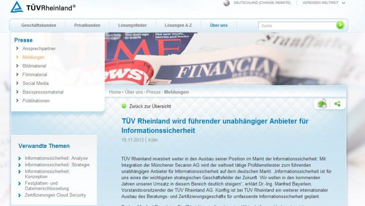 """Der TÜV Rheinland möchte mit der Secaron-Übernahme """"IT-Security made in Germany"""" stärken."""