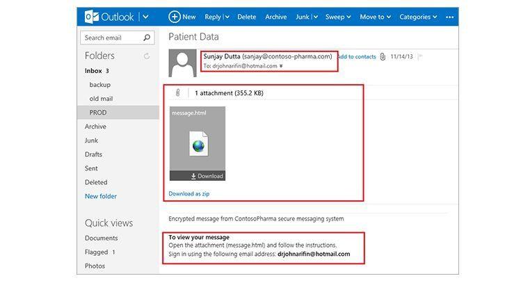 Um eine verschlüsselte E-Mail öffnen zu können, muss ein externer Empfänger zunächst einen automatisch mitgeschickten Anhang öffnen und sich darüber mit seinem (zwingend notwendigen) Microsoft-Konto identifizieren.