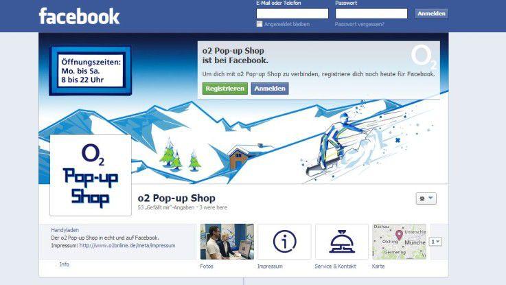 """Der O2-Shop bei Facebook ist zunächst sechs Tage die Woche """"geöffnet""""."""