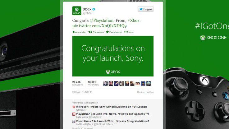 Microsoft gratulierte Sony per Twitter zum Verkaufsstart, Sony tat es umgekehrt ebenso.