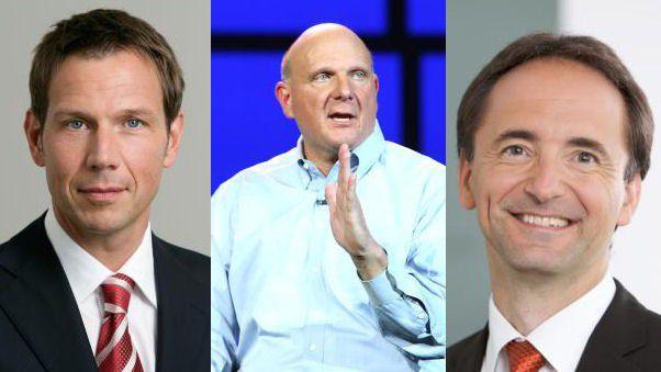 Abschied der großen Bosse: René Obermann (Deutsche Telekom), Steve Ballmer (Microsoft) und Jim Hagemann Snabe (SAP): Sie alle kündigten 2013 ihren Rückzug aus dem Top-Management an.