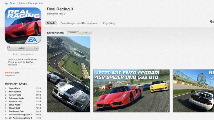 Das Freemium-Modell kann, wird es wie hier beim Spiel Real Racing 3 zu aufdringlich eingesetzt, den Nutzern schon einmal die Freude an einer App versalzen