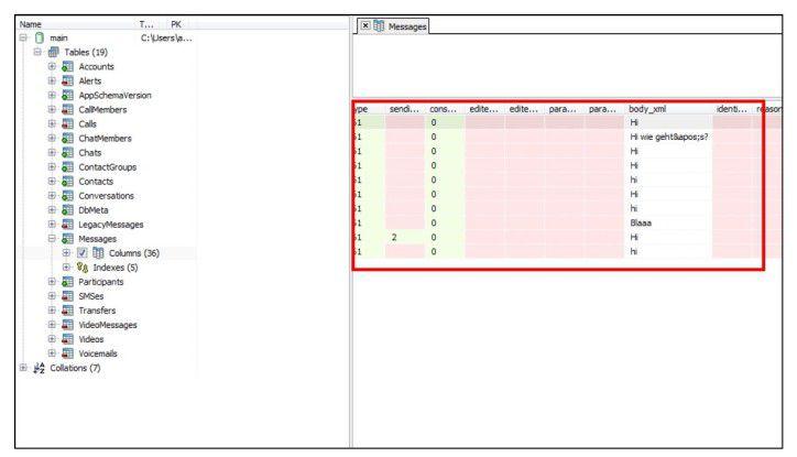 Mitlesen möglich: Die Datenbank main.db der Skype-App