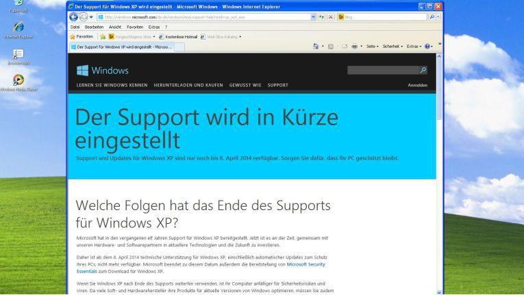 Im April wird der Windows-XP-Support endgültig eingestellt.