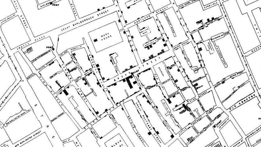 """Die """"Cholera Map"""" von Dr. John Snow."""