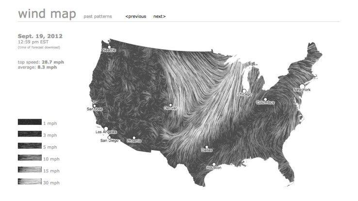 Die Wind Map visualisiert Windströme in den USA.