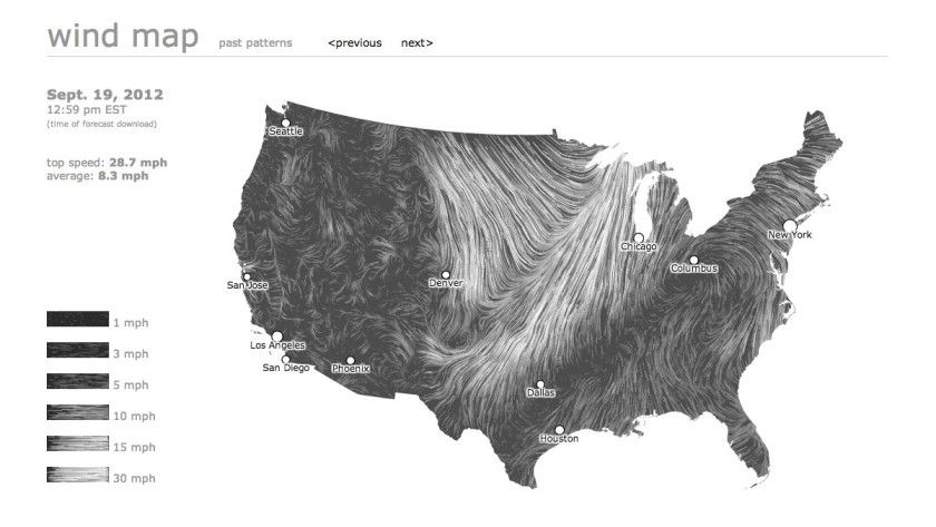Die Wind Map visualisiert Windströme in den USA.