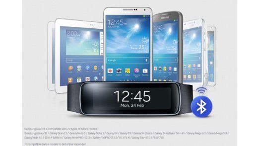 Gear Fit ist mit 20 Samsung-Geräten kompatibel.