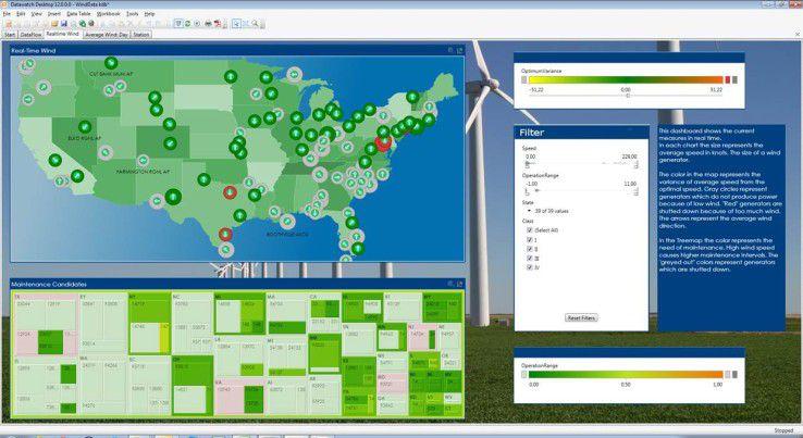 Vorausschauende Wartung (Predictive Maintenance) mit Datawatch Desktop: Echtzeit-Visualisierungen von Daten aus Windenergieanlagen in den USA. In der Treemap sind alle Windkraftanlagen farbig markiert, die vorsorglich gewartet werden sollten, weil sie aufgrund höherer Windgeschwindigkeiten höheren Belastungen ausgesetzt waren.