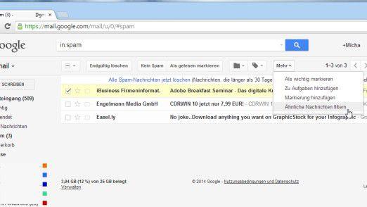 Viele Webmail-Anbieter (in diesem Beispiele Google Mail) bieten bereits standardmäßig einen guten Schutz vor Spam.