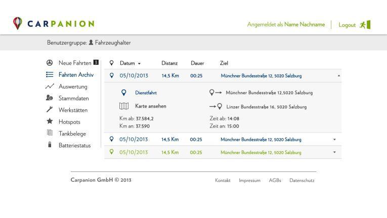Ein weiteres Beispiel der Datenvermeidung: Das elektronische Fahrtenbuch von Carpanion nutzt die AMV-Technologie, bei der die Datenübermittlung anonym über verschlüsselte Datenverbindungen erfolgen soll.