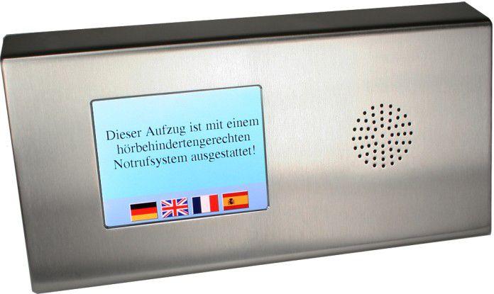 Ein visueller Notruf im Aufzug hilft Gehörlosen.