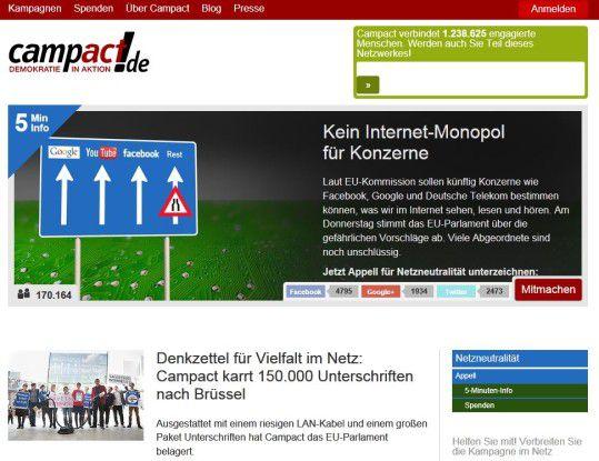Campact.de und andere Bürgerrechtsorganisationen haben über 170.000 Unterschriften zur Wahrung der Netzneutralität gesammelt.