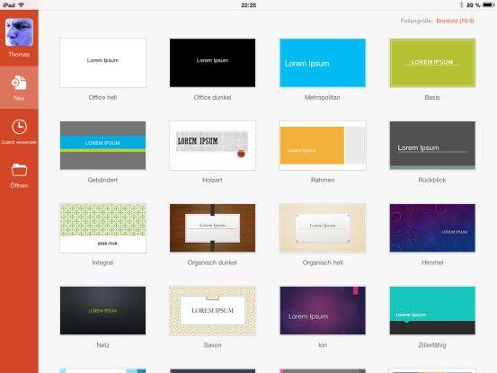 Dank der vielen Vorlagen ist auch die Neuerstellung von PowerPoint-Präsentationen auf dem iPad gut möglich.