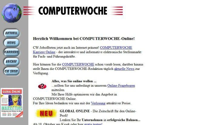 So sah die Homepage COMPUTERWOCHE vor fast 20 Jahren aus - heute ist so ein Design kaum noch vorstellbar. Damals war es innovativ.