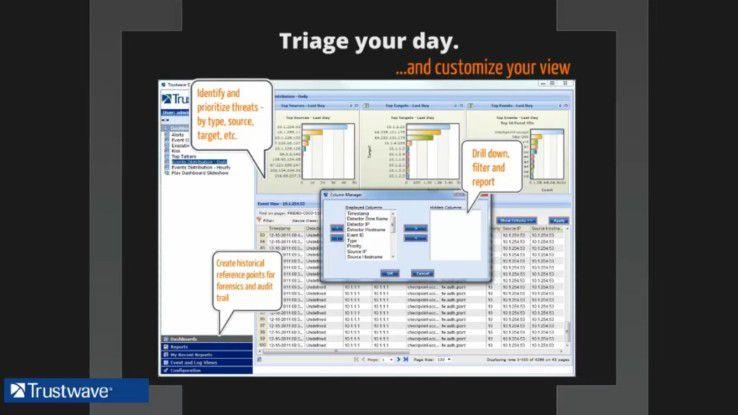 Lösungen wie Trustwave Threat Intelligence bieten dem Anwenderunternehmen Dashboards, mit denen die Bedrohungsdaten und -vorhersagen individuell dargestellt werden können. Dies hilft auch bei der gezielten Umsetzung von Compliance-Vorgaben.