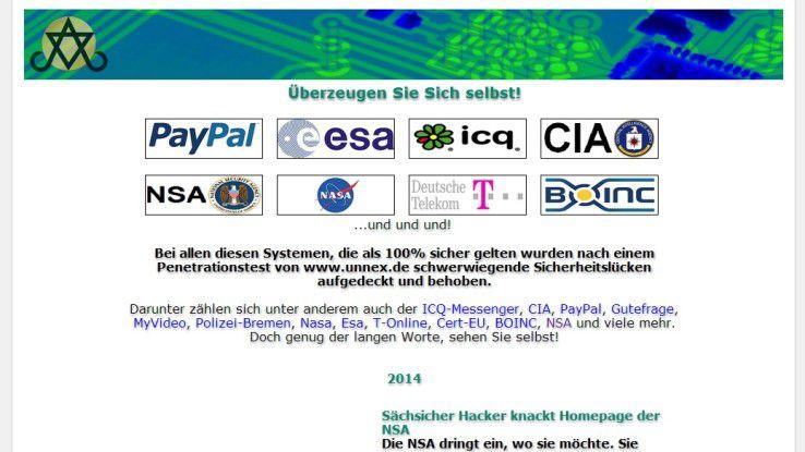 Auf seiner Website wirbt Ungethüm bereits mit dem NSA-Hack.