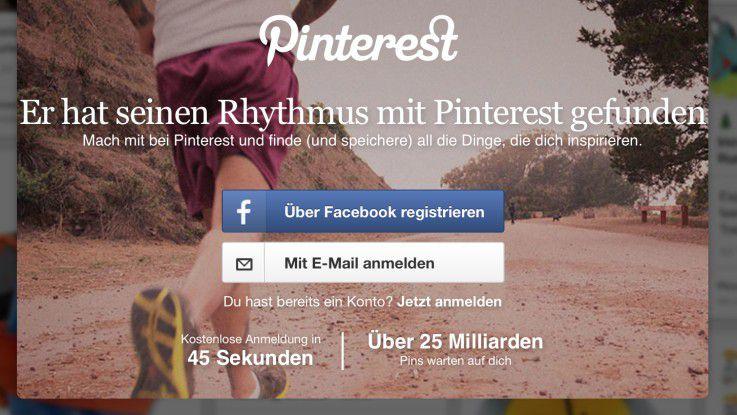 Die Social Media-Plattform Pinterest wirbt schon vor der Anmeldung damit, dass sie nur 45 Sekunden dauern wird.