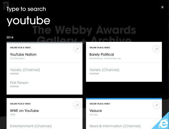 Die Suche bei den Webby Awards erfordert kein Klicken in ein Texteingabefeld - der User kann einfach lostippen und oben links erscheint der eingegebene Suchbegriff.