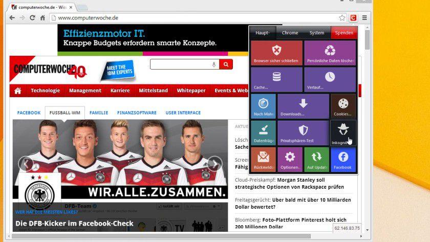 """Modernes Outfit, enge Integration in den Google Chrome Browser: """"Click & Clean"""" erleichtert es den Nutzern, ihre Browser aufzuräumen und die Einträge im Cache zu löschen."""