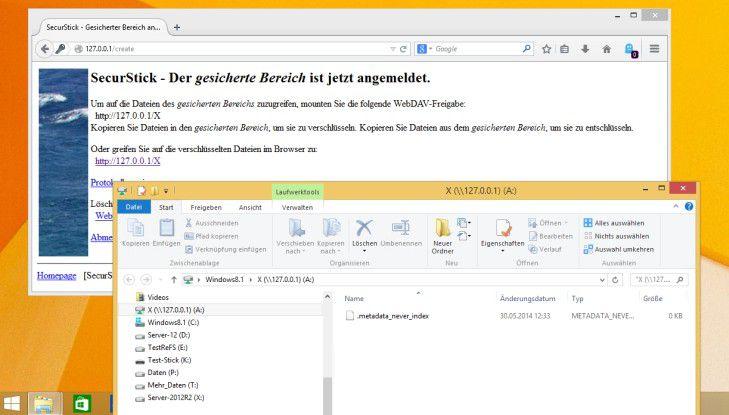"""Die freie Software """"SecurStick"""" im Einsatz: Nach Eingabe des Passworts werden die Daten aus dem verschlüsselten Bereich mittels WebDAV auf einer montierten Dateifreigabe zur Verfügung gestellt."""