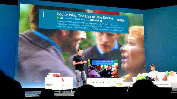 Auf der Bühne der Google I/OT wurde Android TV groß präsentiert.