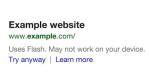 """""""Moderne Websites für moderne Geräte"""": Google-Suche warnt vor Flash-Seiten - Foto: Google"""