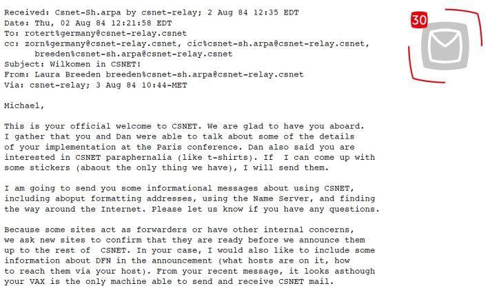 Der Inhalt der ersten E-Mail.