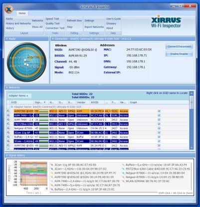 Der Xirrus Wi-Fi Inspector fasst mehrere Mess- und Überwachungs-Tools bequem unter einer gemeinsamen Oberfläche zusammen.