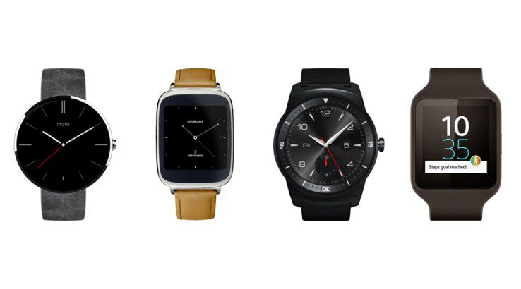 Smartwatches mit Android Gear: Moto 360, Asus Zen Watch, LG G Watch R, Sony Smartwatch 3